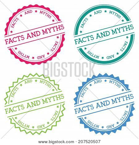 Facts And Myths Badge Isolated On White Background. Flat Style Round Label With Text. Circular Emble
