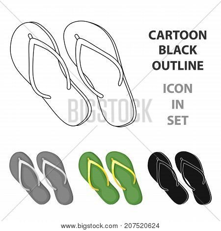 Green flip-flops icon in cartoon design isolated on white background. Brazil country symbol stock vector illustration.