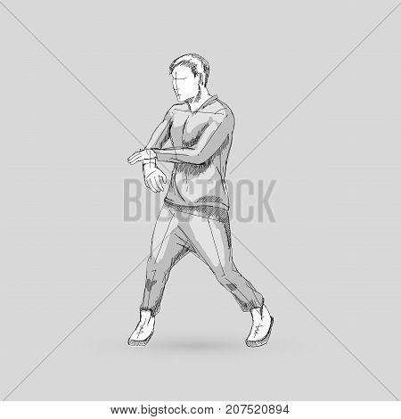 Modern Dancer Sketch of a Man Dancer Hip Hop Choreography