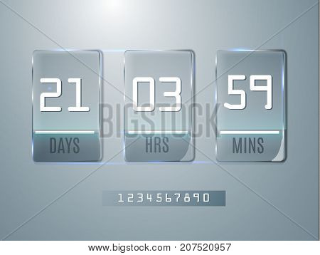 Glass Counter Timer. Banner Start End Dates For Discounts And Promotions. Vector Template. Glass Tra