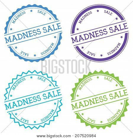 Madness Sale Badge Isolated On White Background. Flat Style Round Label With Text. Circular Emblem V