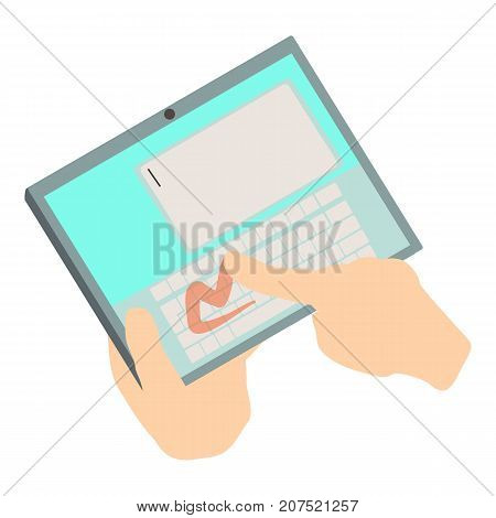 Touch tablet icon. Isometric illustration of touch tablet icon for web