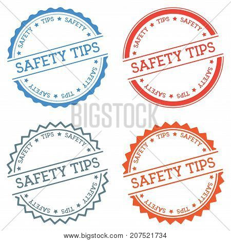 Safety Tips Badge Isolated On White Background. Flat Style Round Label With Text. Circular Emblem Ve