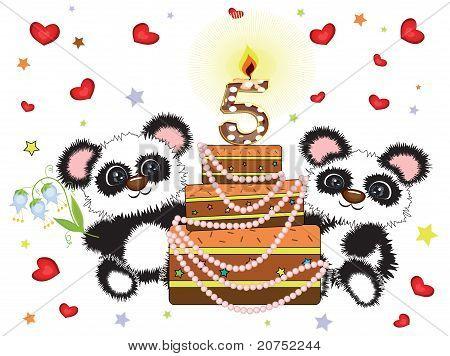 poster of Five years, birthday postcard with panda bears and big cake.