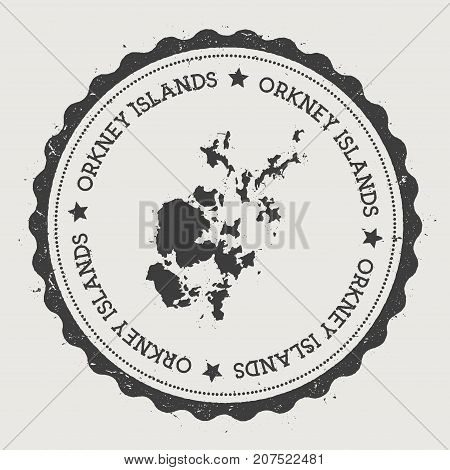 Orkney Islands Sticker. Hipster Round Rubber Stamp With Island Map. Vintage Passport Sign With Circu