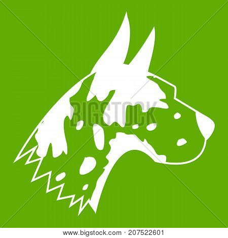 Great dane dog icon white isolated on green background. Vector illustration