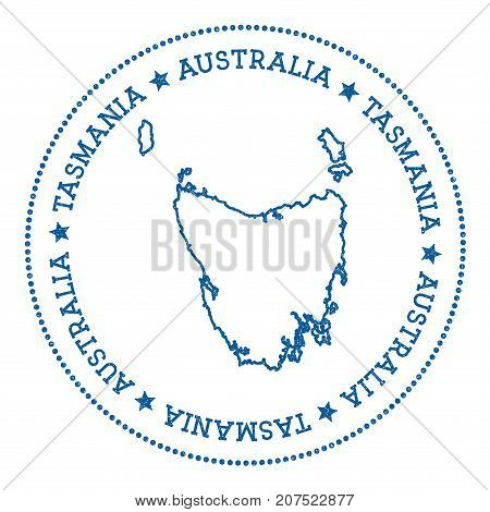 Tasmania Map Sticker. Hipster And Retro Style Badge. Minimalistic Insignia With Round Dots Border. I