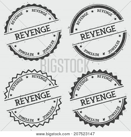 Revenge Insignia Stamp Isolated On White Background. Grunge Round Hipster Seal With Text, Ink Textur