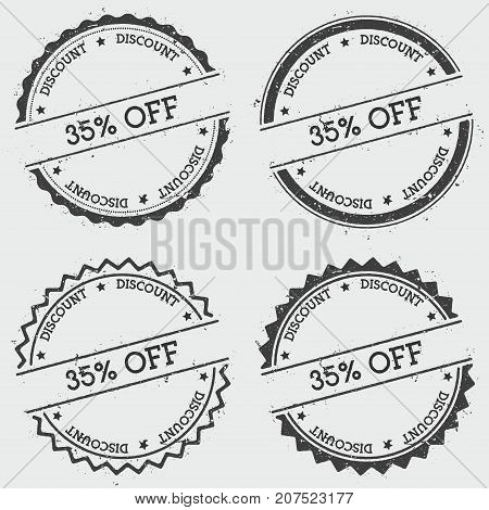 35% Off Discount Insignia Stamp Isolated On White Background. Grunge Round Hipster Seal With Text, I