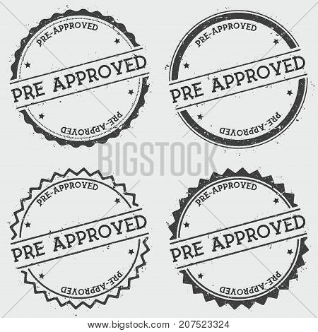 Pre-approved Insignia Stamp Isolated On White Background. Grunge Round Hipster Seal With Text, Ink T