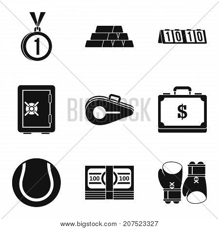 Rich athlete icons set. Simple set of 9 rich athlete vector icons for web isolated on white background