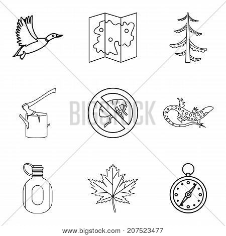 Terrain icons set. Outline set of 9 terrain vector icons for web isolated on white background