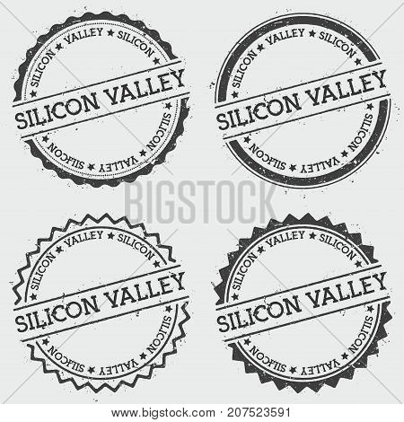 Silicon Valley Insignia Stamp Isolated On White Background. Grunge Round Hipster Seal With Text, Ink