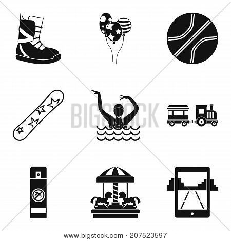 Active child icons set. Simple set of 9 active child vector icons for web isolated on white background