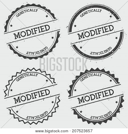Modified Genetically Insignia Stamp Isolated On White Background. Grunge Round Hipster Seal With Tex