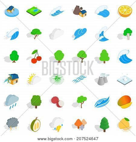 Weather icons set. Isometric style of 36 weather vector icons for web isolated on white background