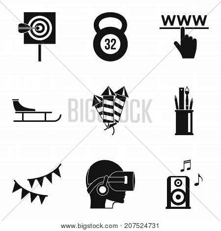Entertainment of the future icons set. Simple set of 9 entertainment of the future vector icons for web isolated on white background