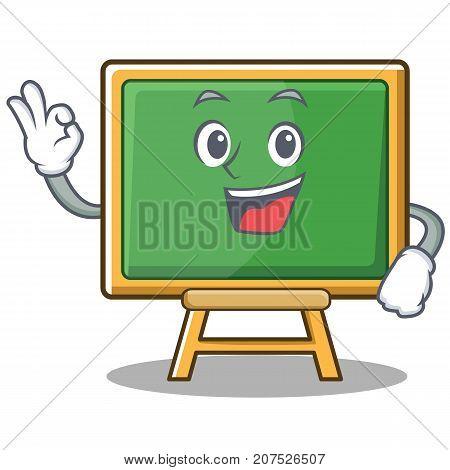 Okay chalk board character cartoon vector illustration