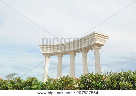 building antique roman style and white sky