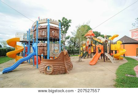 colorful Playground in public park for childre
