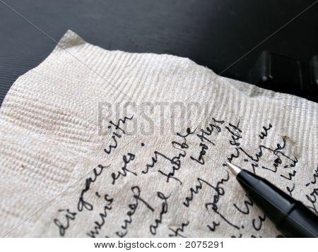 Notes Written On Napkin
