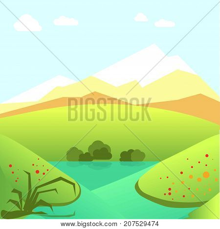 Calm summer landscape with green fields, high mountains, bright flowers, small river and blue sky with fluffy clouds vector illustration. Spectacular scene of nice warm day with good weather.
