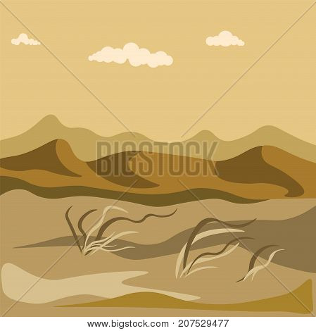Autumn in desert with sand hills and yellow grass bundles that waves on wind under dark sky with clouds vector illustration. Cold season natural landscape of empty wild valley almost without plants.