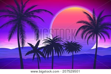 Silhouette of palm trees on the tropical sunrise, vector illustration