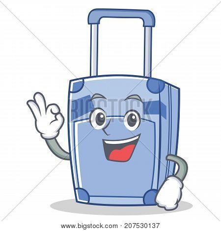 Okay suitcase character cartoon style vector illustration