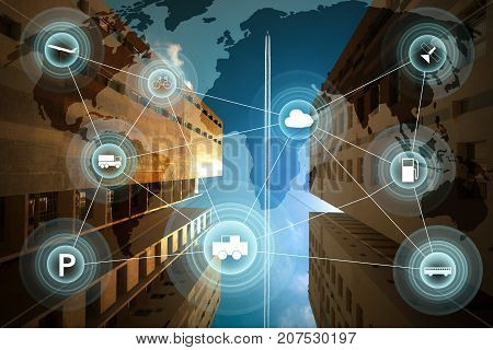 Morden city and smart transportation and intelligent communication network of things wireless connection technologies for business .