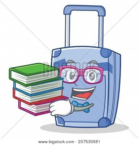 Geek suitcase character cartoon style vector illustration