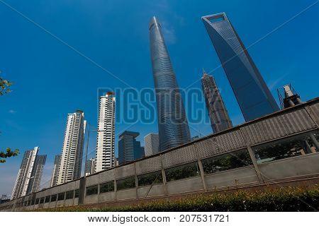 Shanghai Modern City Landmark Buildings Backgrounds