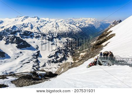 Mt. Titlis Switzerland - May 28 2017: The snow mountain range mountain range from the Titlis is a mountain of the Uri Alps Engelberg Switzerland.