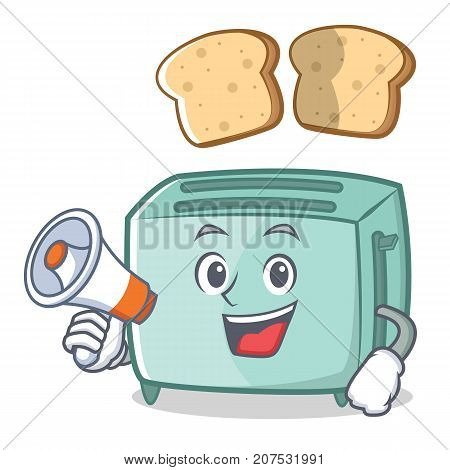 With megaphone toaster character cartoon style vector illustration