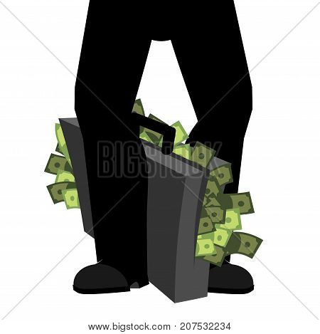 Suitcase Of Money And Legs. To Hide Bribe. Case Cash. Vector Illustration