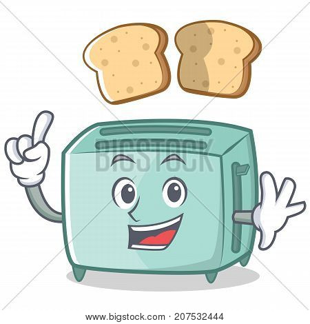 Finger toaster character cartoon style vector illustration