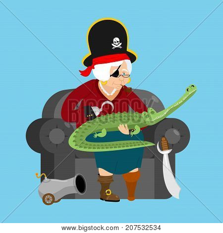 Grandmother pirate. Old buccaneer and crocodile. grandma on chair. Saber and cannon. Smoking pipe and wooden leg. Vector illustration