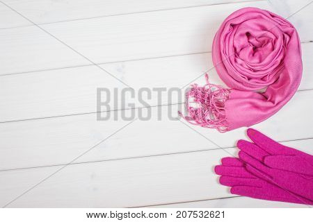 Pink Shawl And Gloves For Woman, Clothing For Autumn Or Winter, Copy Space For Text