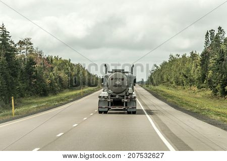 Quebec Canada 09.09.2017 - Fuel tanker track driving on trans canada highway