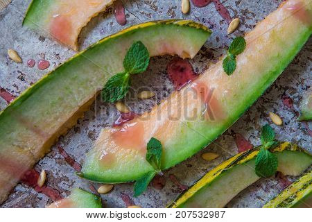 Melon Slices With Rawsberry Syrop, Top View