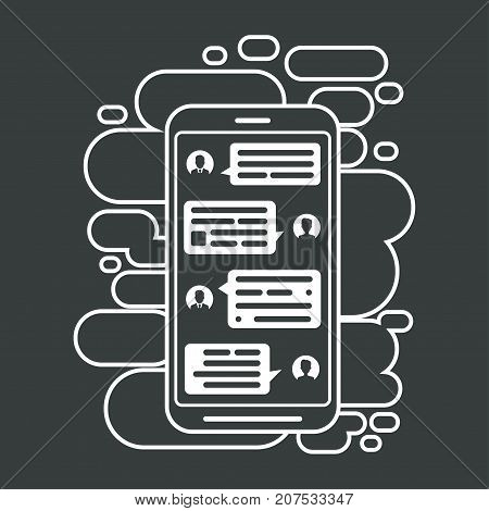 Compose dialogues using samples bubbles. Smart Phone chatting bubbles.
