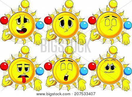 Cartoon sun juggler. Collection with sad faces. Expressions vector set.