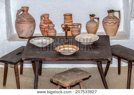 Objects in interior at one traditional romanian farmhouse. The Banat region (part of Transylvania) Romania.