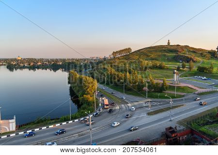View of town with watchtower on hill Lisya. Nizhny Tagil. Russia