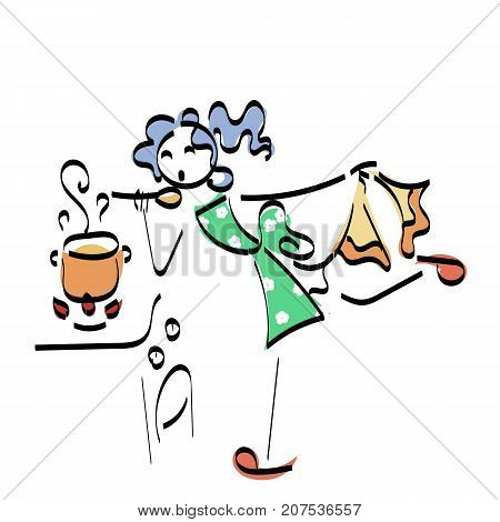 Doodle stickman illustration concept. Cooking woman with tasty food. Vector image.