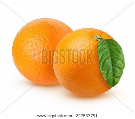 Two ripe orange with leaf isolated on white background with shadows. The orange fruit entirely.