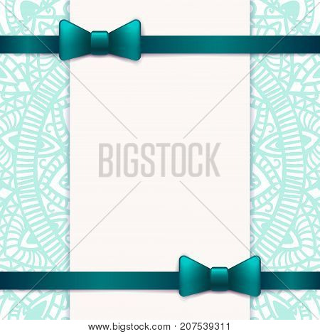 Blue vintage greeting card template with bow and ribbon. Vector wedding invitation design. Anniversary template design for any celebration. Marriage birthday christmas baby shower flyer.