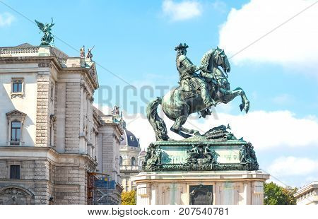 Austria Vienna the equestrian monument of the Prince Eugene of Savoy in Helden square
