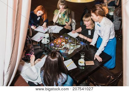 Russia Kirov - February 19 2017: People take part in the festival Time for play which includes plays for business and plays for coaching and teaching in Kirov city in 2017