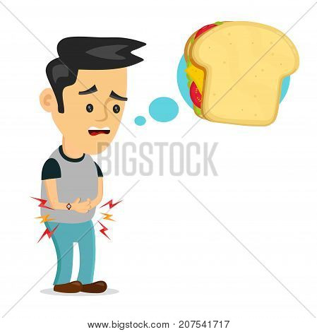 Young suffering sad man is hungry. thinks about food, fast food, sandwich. Vector flat cartoon illustration icon design. Isolated on white backgound. Hungry, sandwich concept